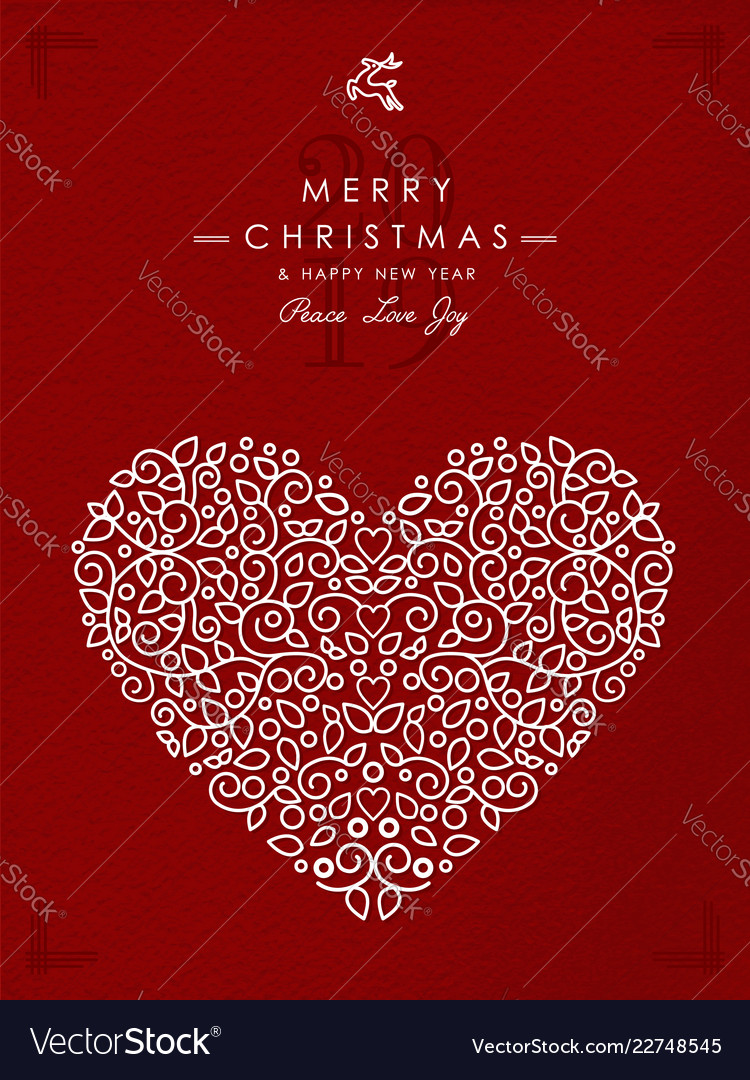 Merry christmas happy new year outline heart deco Vector Image