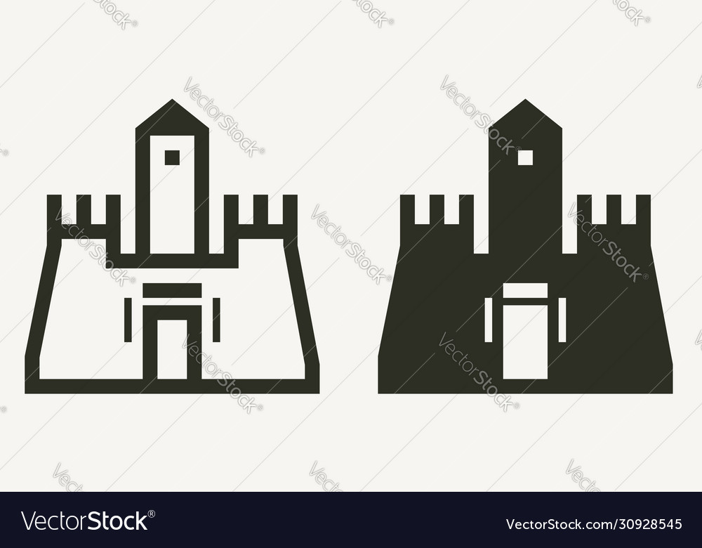 Minimal castle buildings outline and solid icons