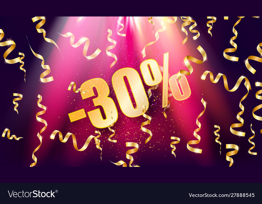 Neon 30 sale off text banner
