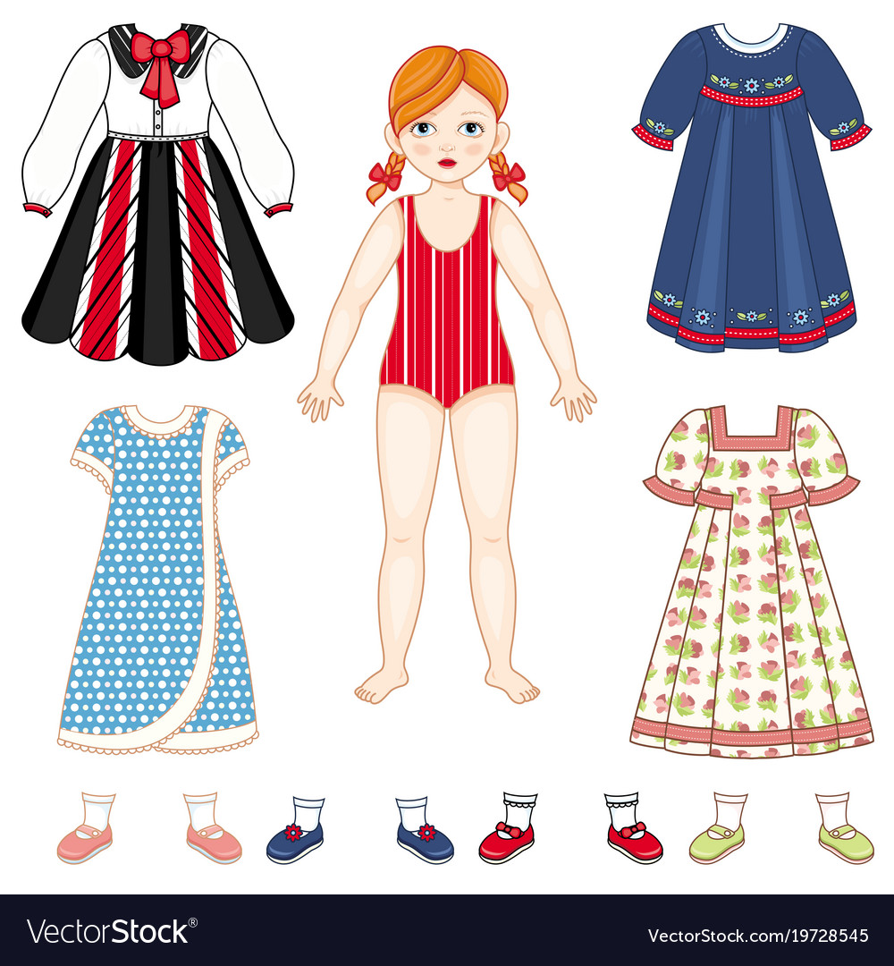Paper doll and set of clothes - dresses and shoes