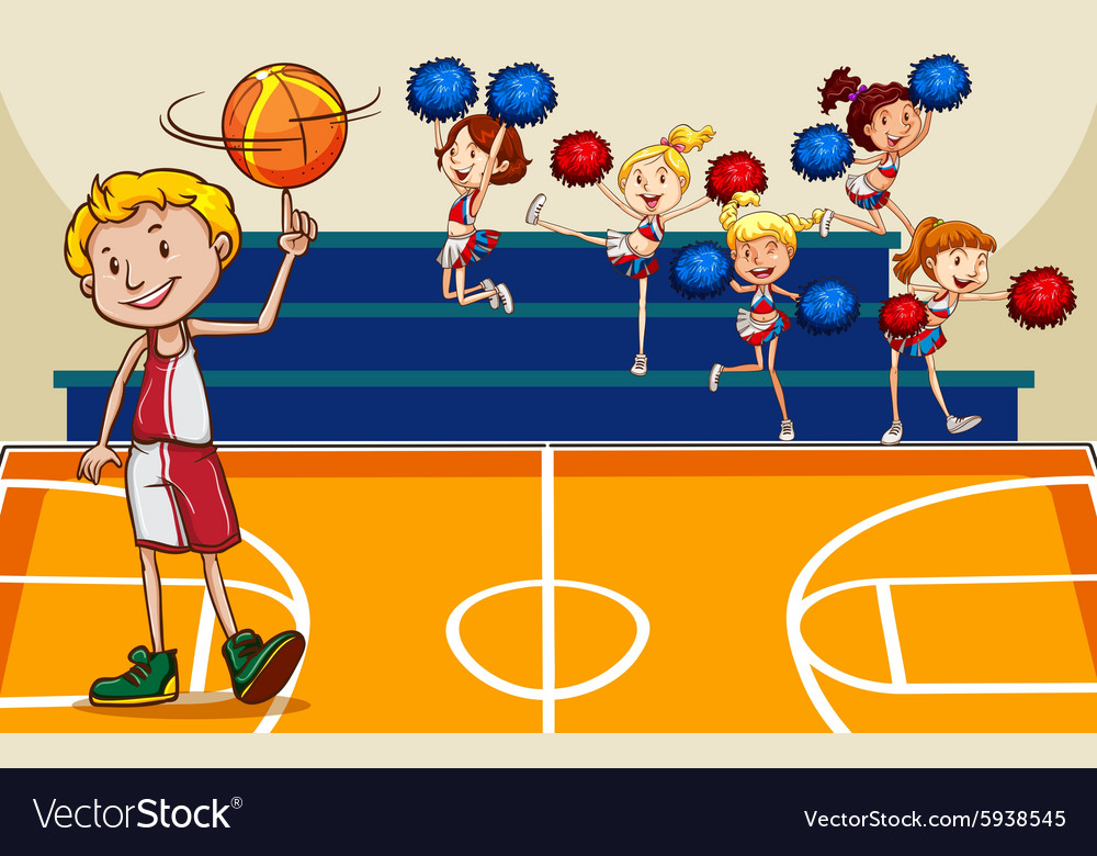 People playing basketball at court vector image