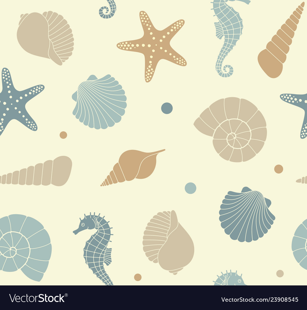 Seamless background with silhouettes of sea shells