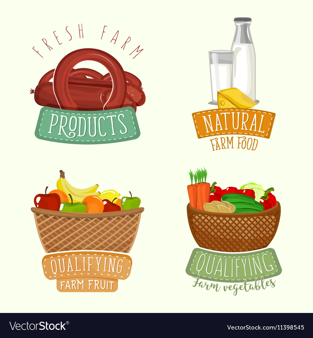 Set of logos design with farm organic products vector image