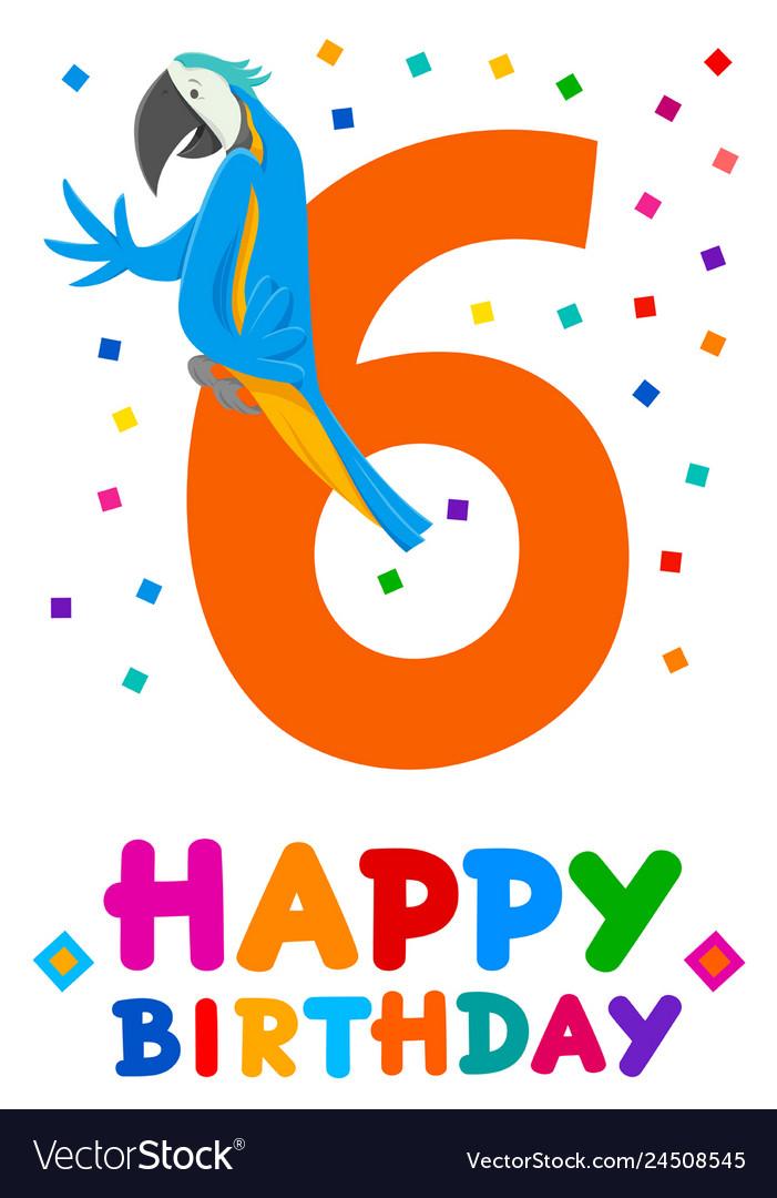 Sixth birthday cartoon greeting card design