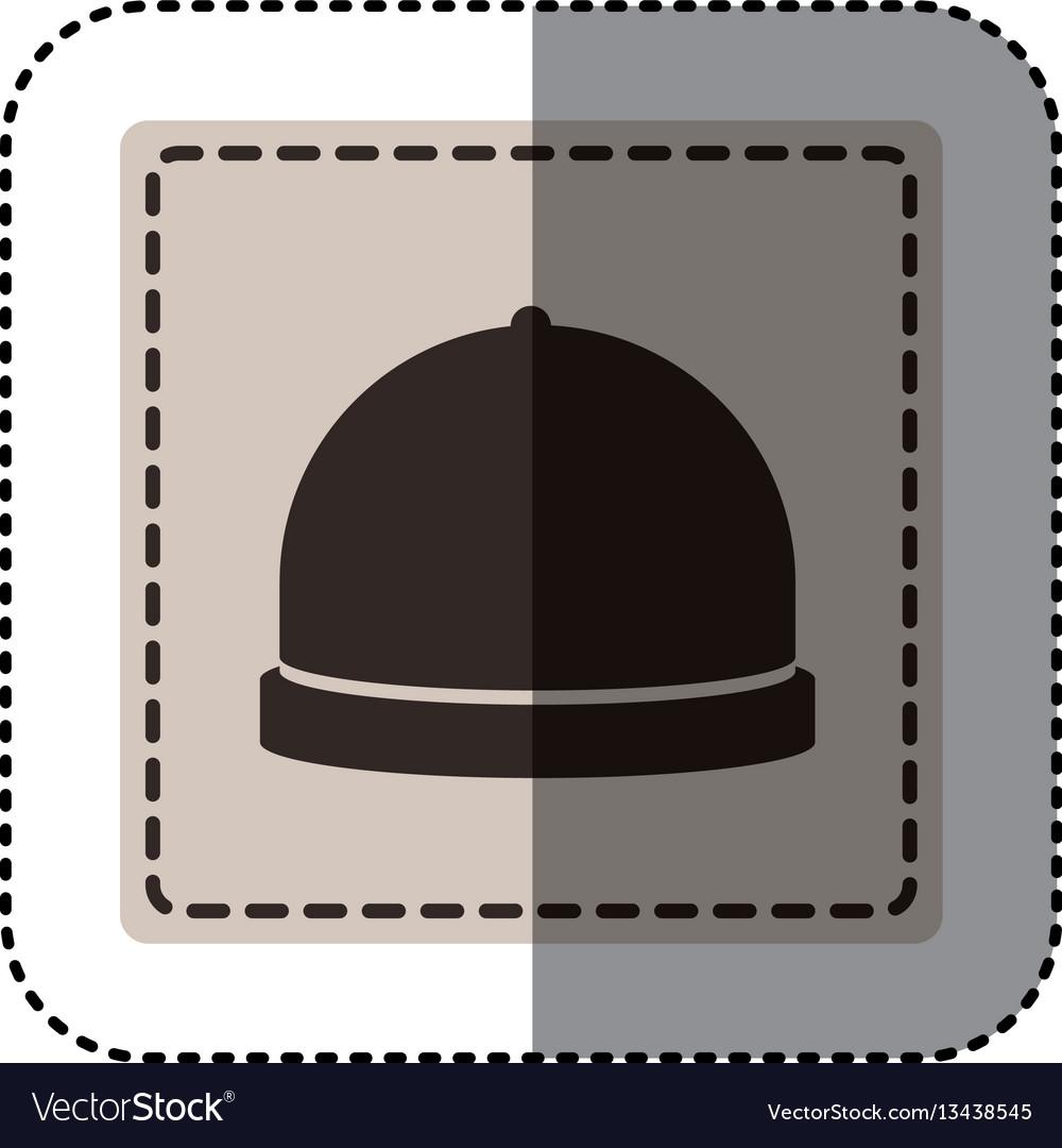 Sticker monochrome square with cloche icon food