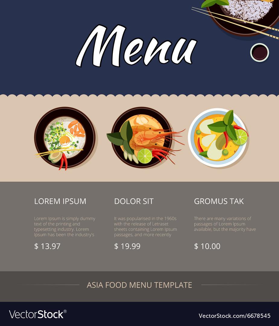 Thai food menu template design