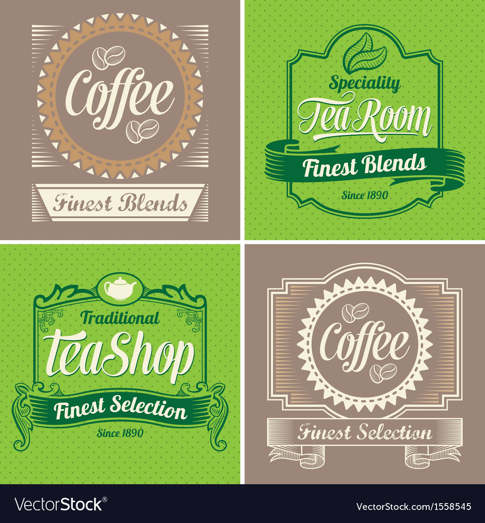 Vintage coffee and tea label design set