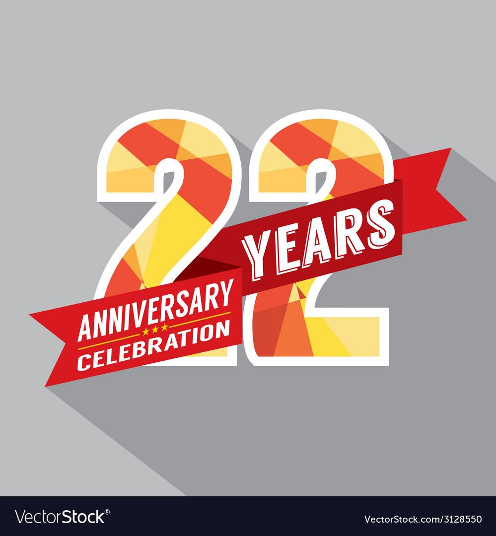 22nd Years Anniversary Celebration Design vector image
