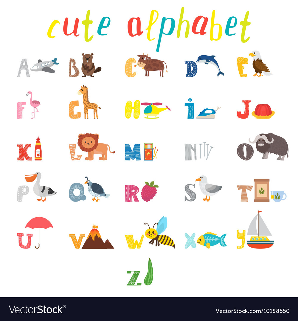 ABC Children Alphabet With Cute Cartoon Animals Vector Image