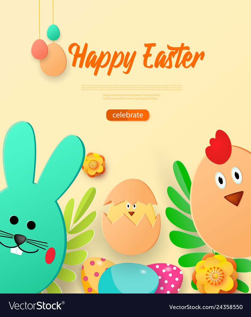 Bright greeting card with happy easter