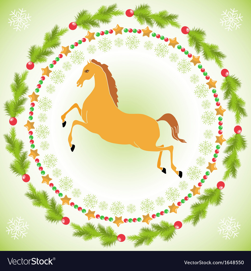 Christmas Horse In Round Frame Royalty Free Vector Image