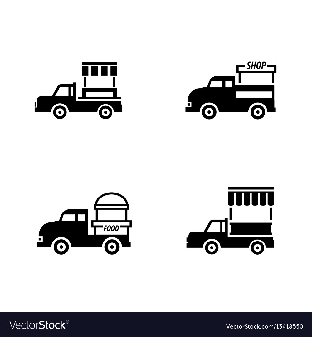 Design mobile food car icons vector image