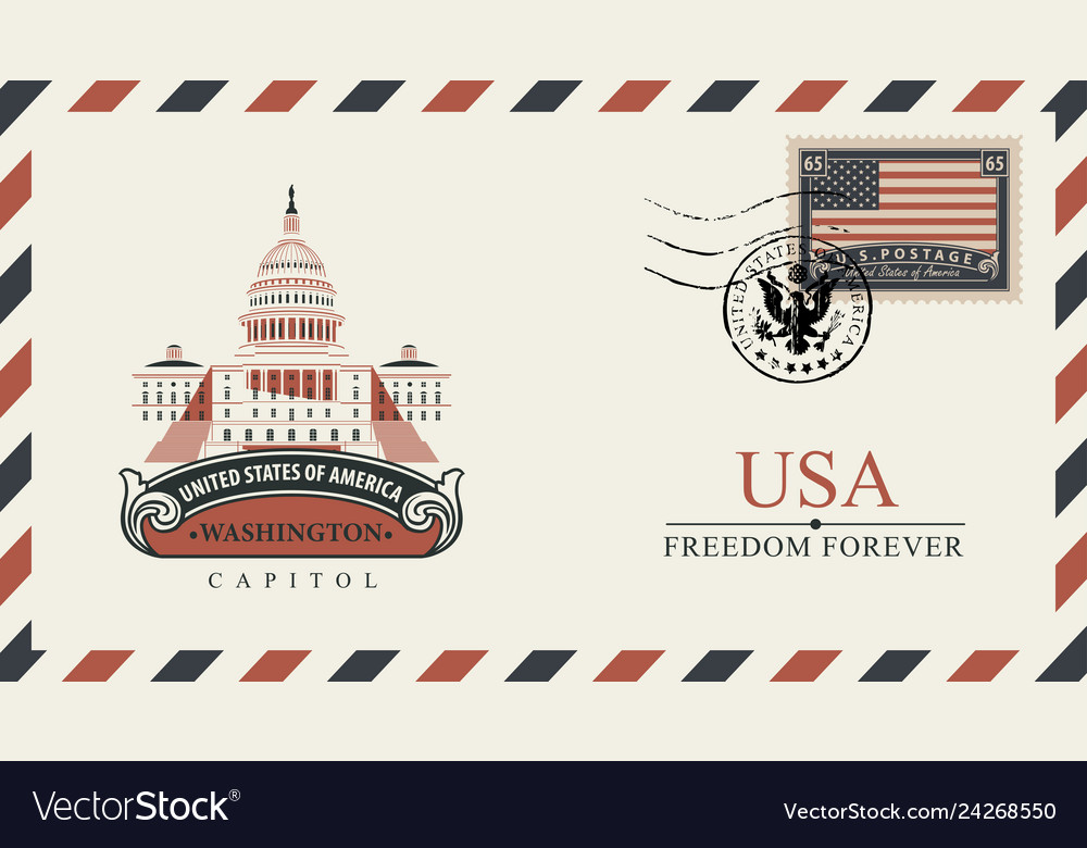 Envelope with washington capitol and american flag