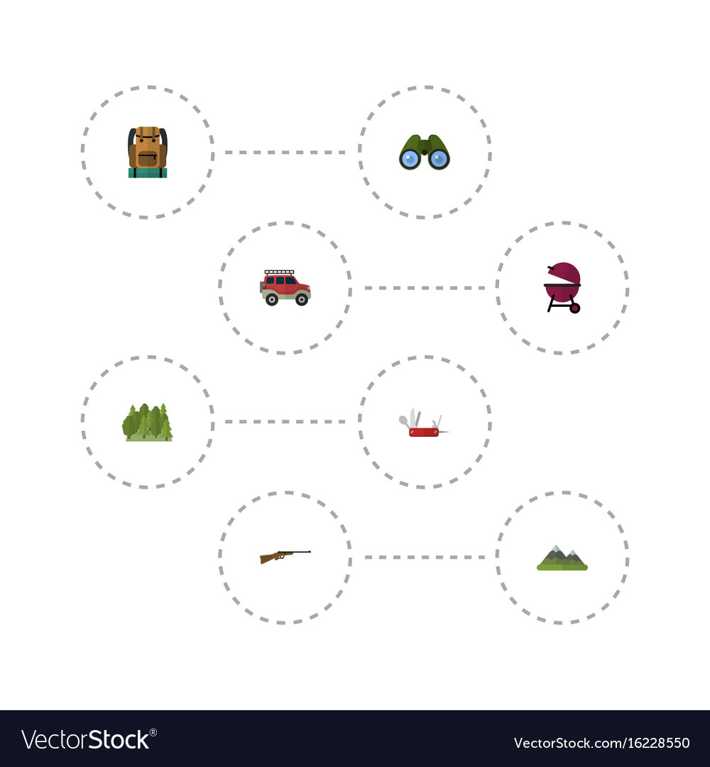 Flat icons zoom wood barbecue and other vector image