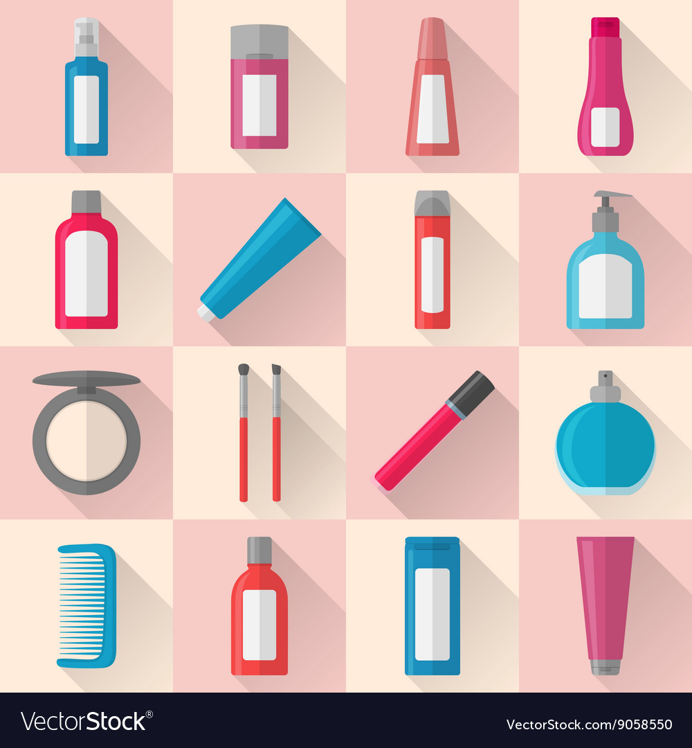 Flat makeup and cosmetics icons set vector image