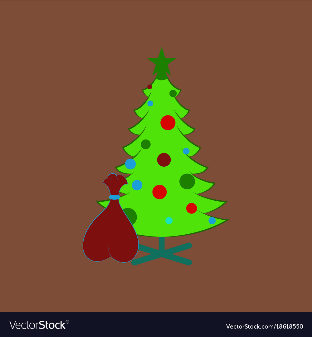 Flat on background of christmas tree gifts Vector Image