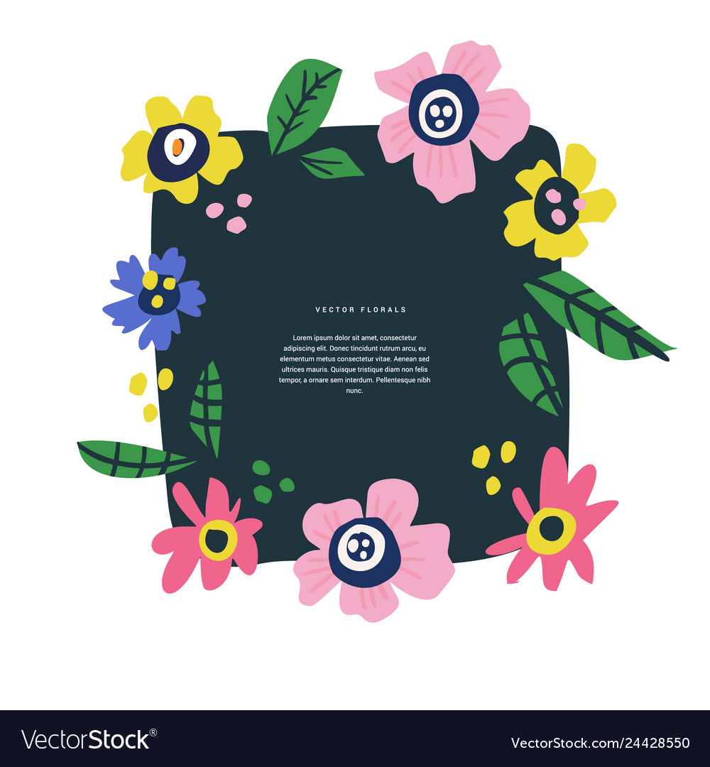 Floral text circle frame hand drawn flat layout