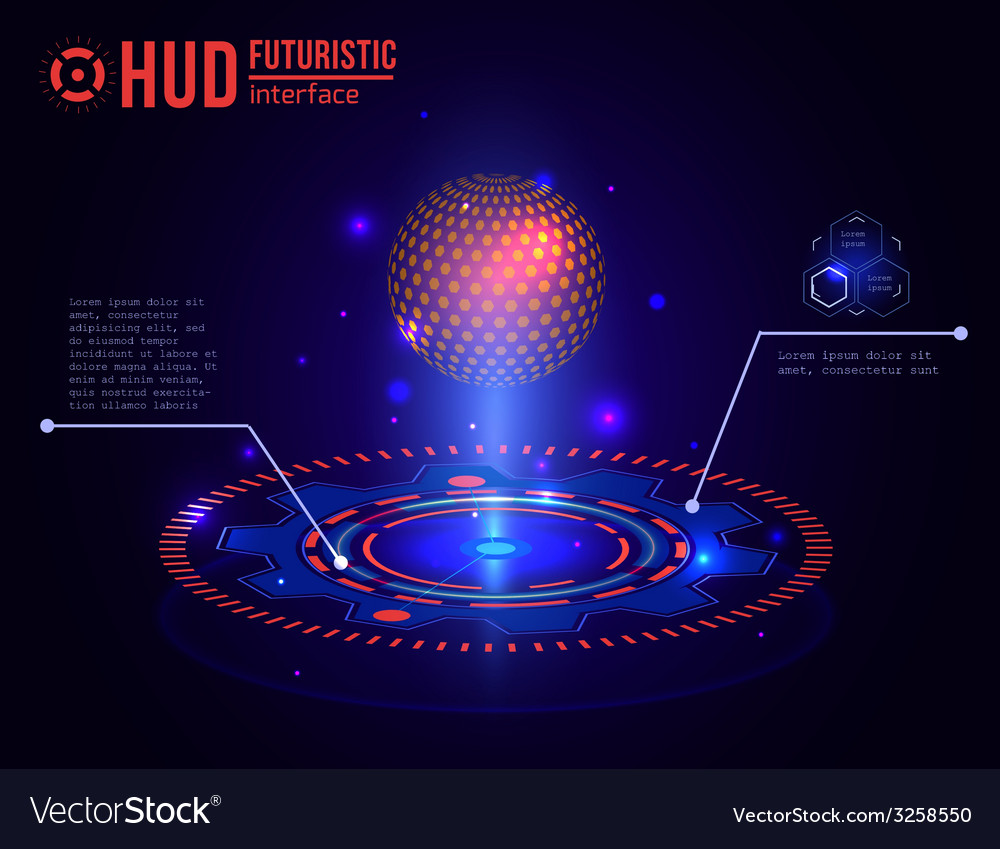 Futuristic HUD interface elements Virtual touch
