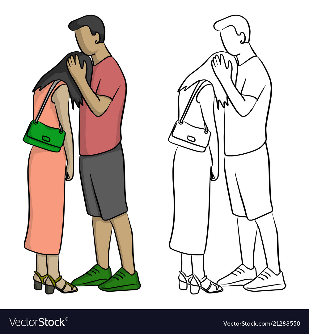 Man comforting his sad lover sketch