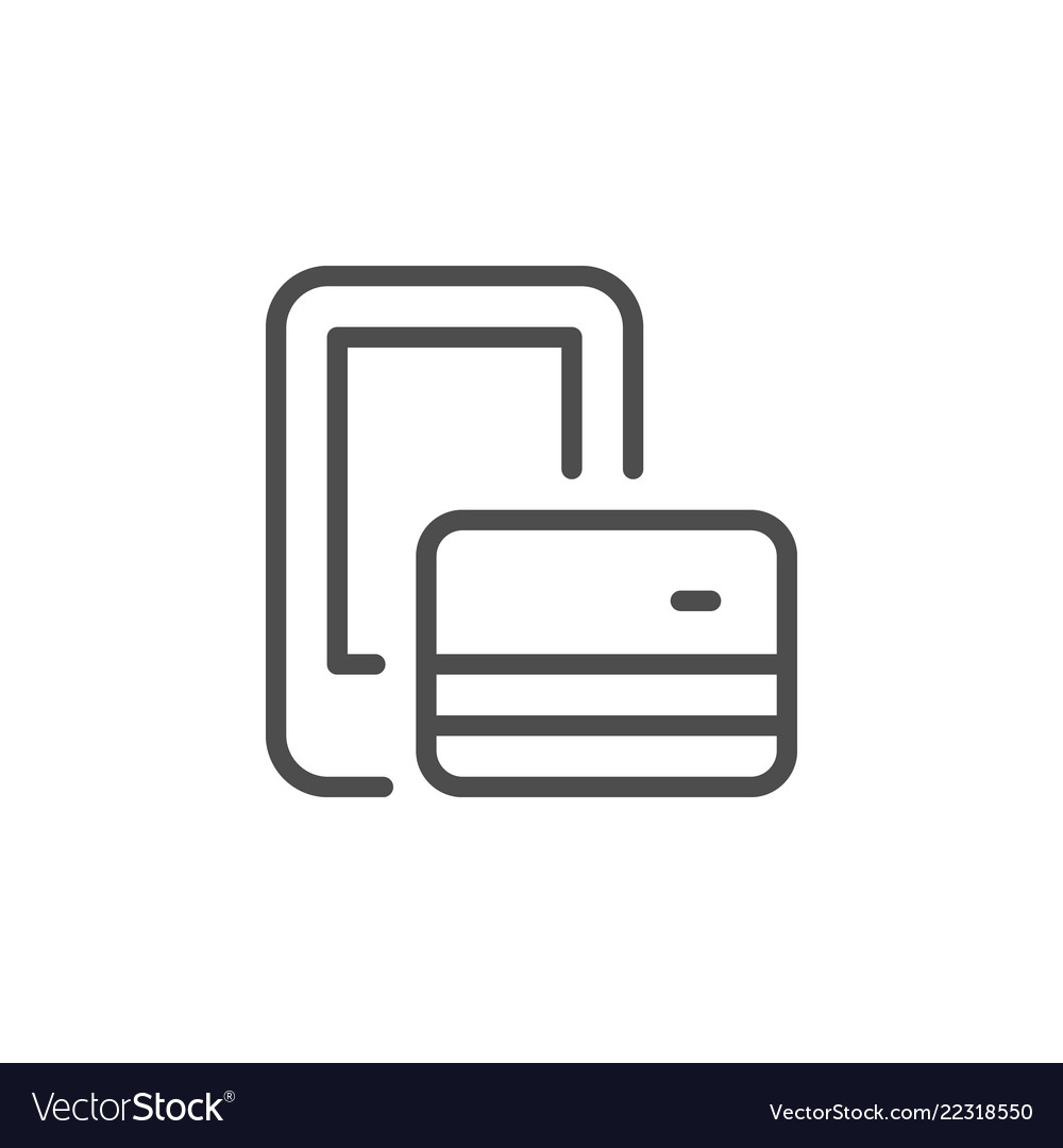 Mobile phone payment line icon