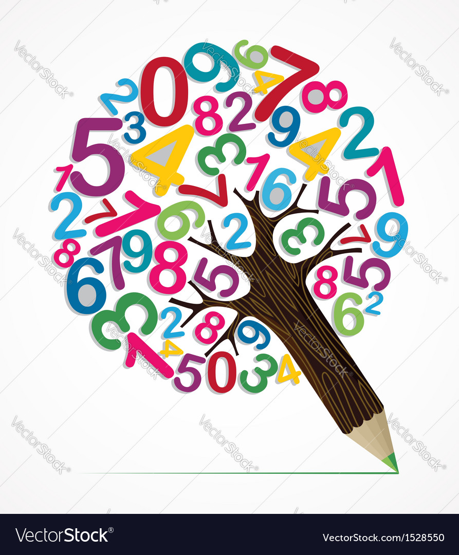 Number variety concept pencil tree vector image