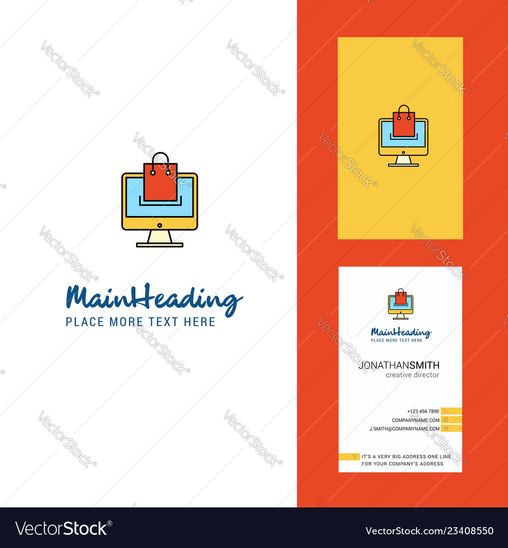 Online shopping creative logo and business card