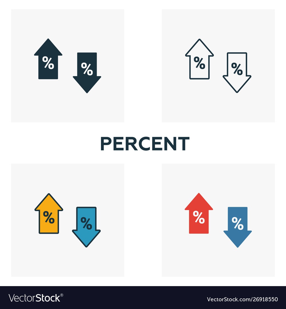 Percent icon set four elements in diferent styles