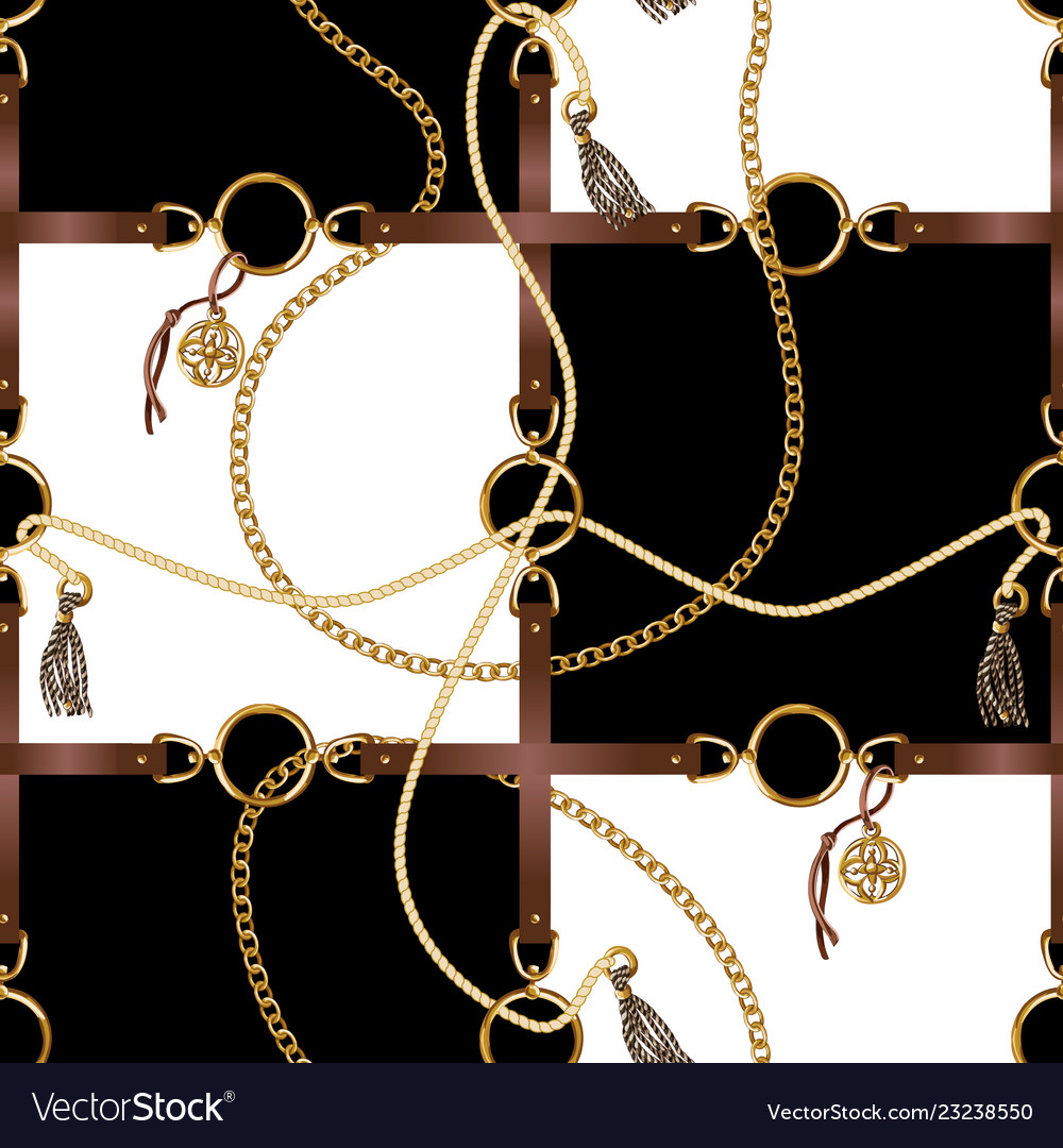 Seamless pattern with belts chain