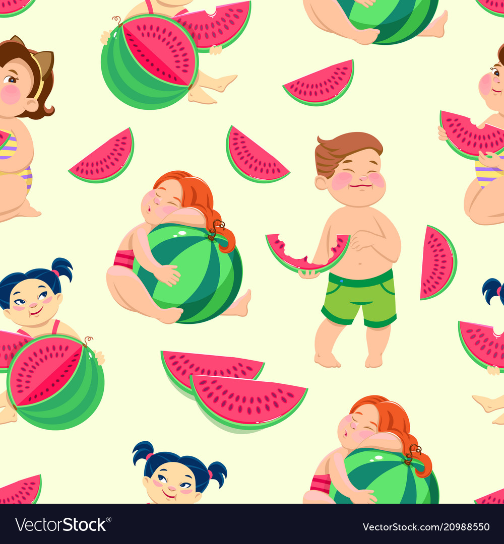 Seamless pattern with children eating watermelon