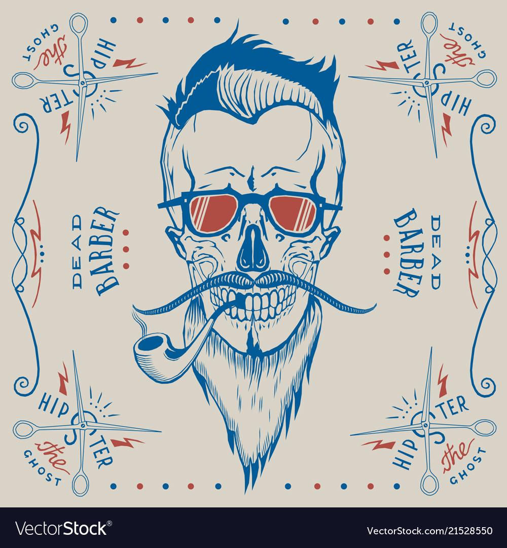 Skull barber logo hipster style
