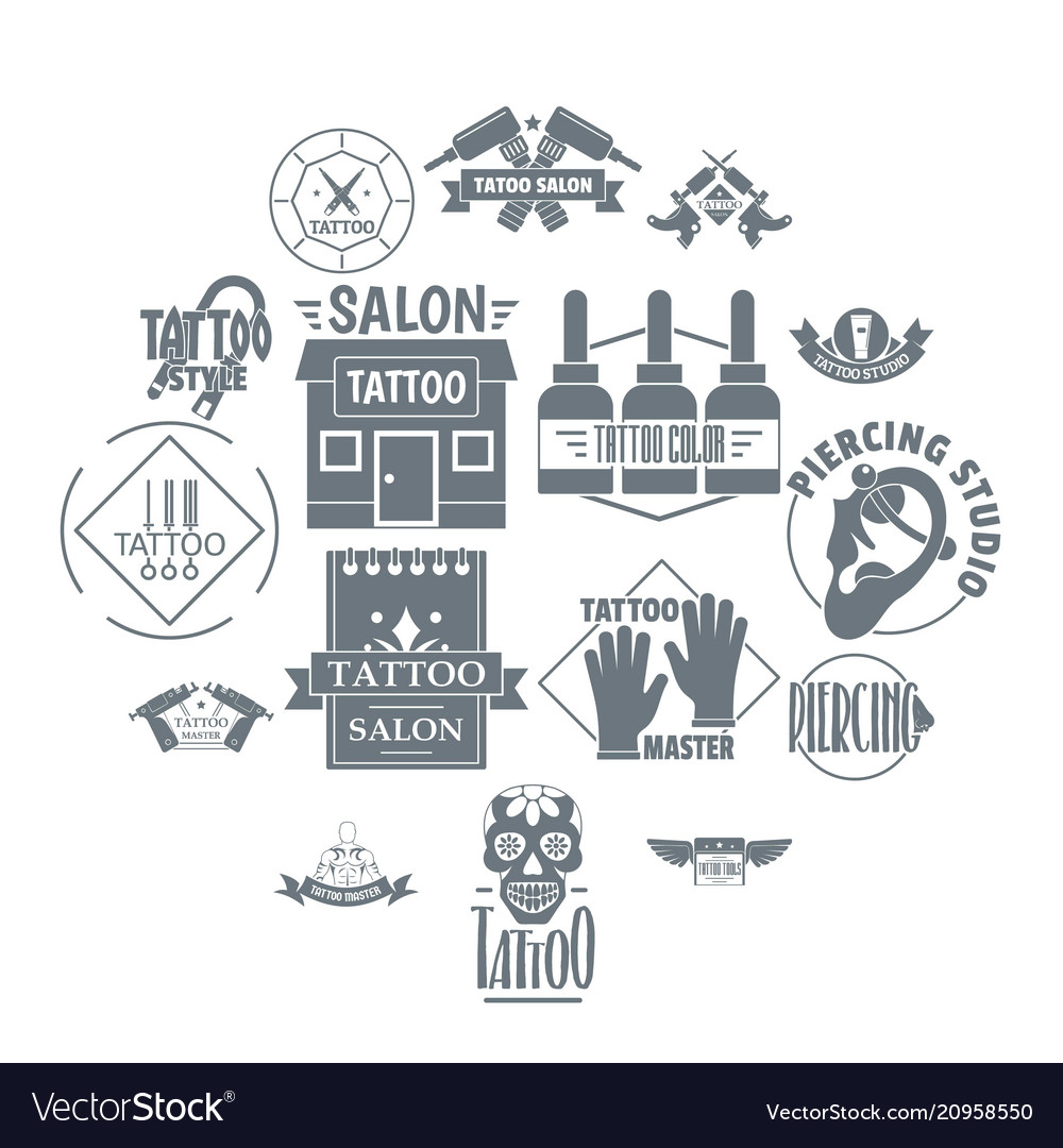 Tattoo logo icons set simple style
