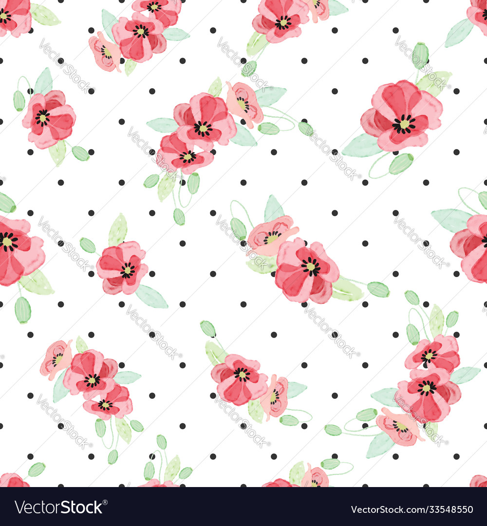 Watercolor red poppy bouquet on dot background