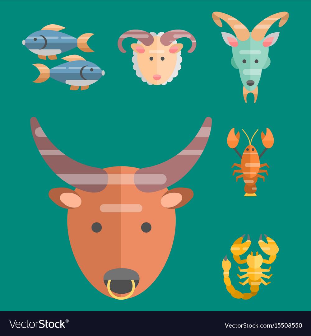 Zodiac signs flat set of horoscope symbols star