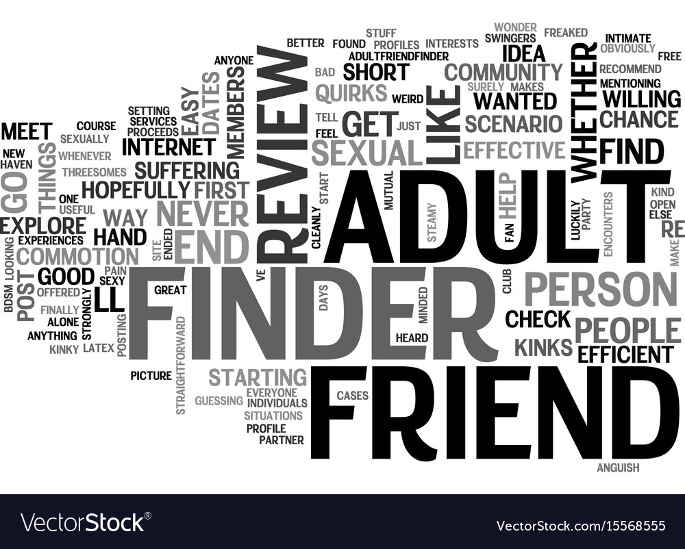 adult friend finder review good or bad text word vector image