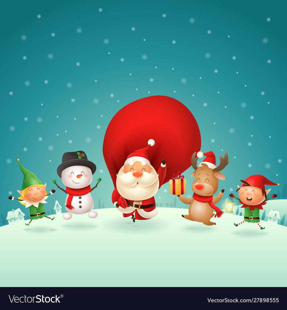 Christmas friends celebrate holidays outside