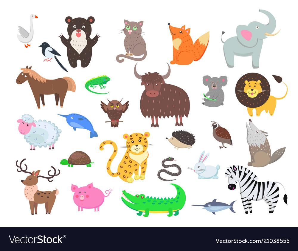 Cute animals cartoon flat set