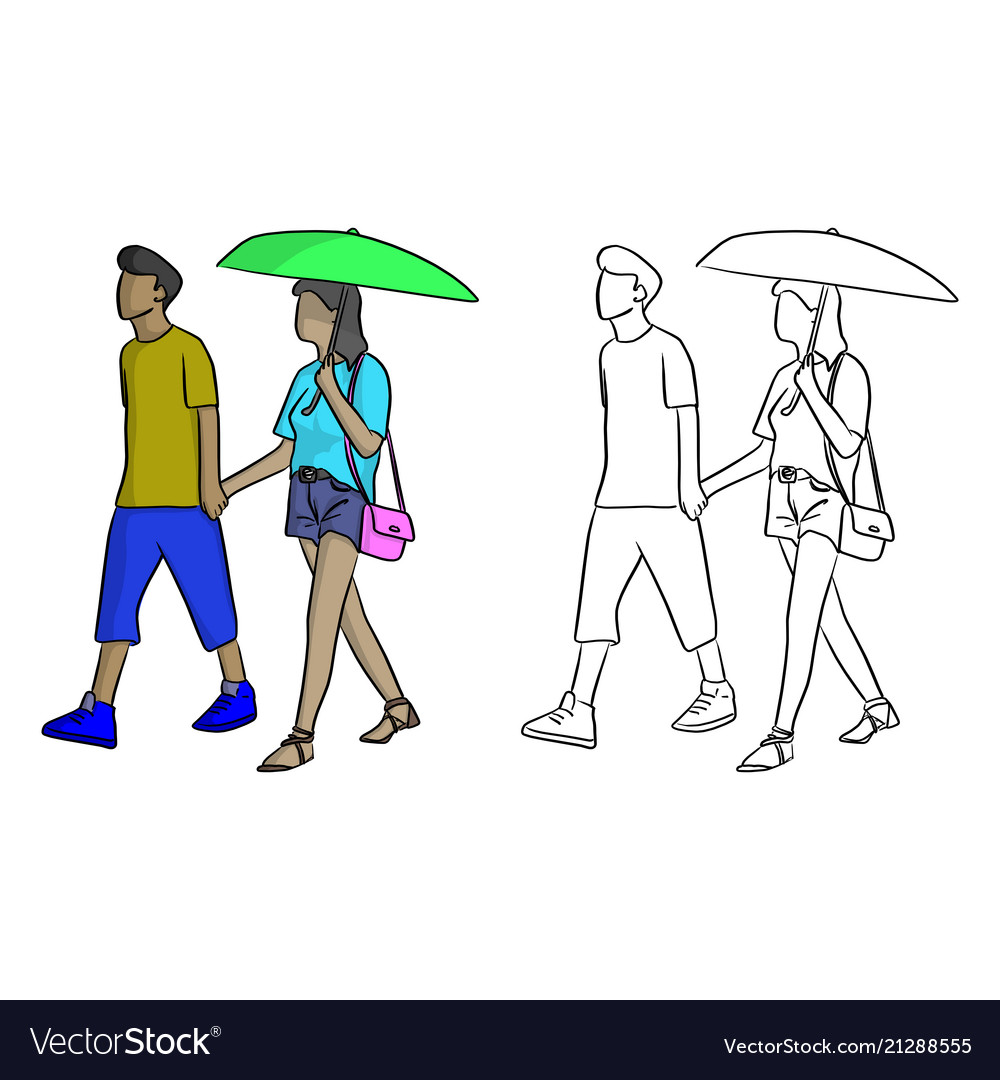 Man walking with his lover with a green umbrella