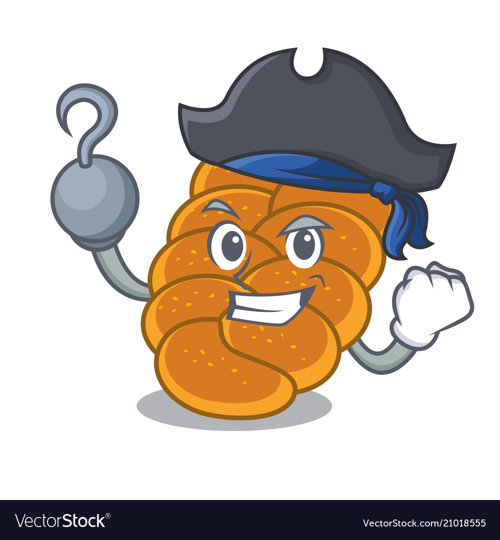 Pirate challah character cartoon style vector image