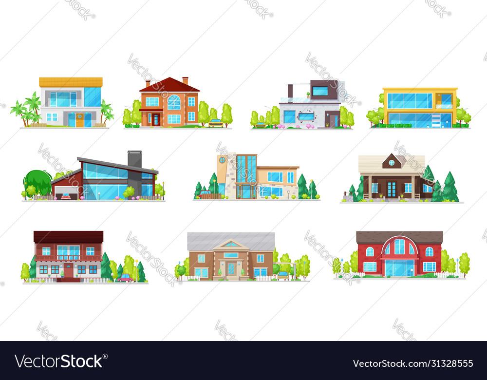 Private buildings real estate villas icons set