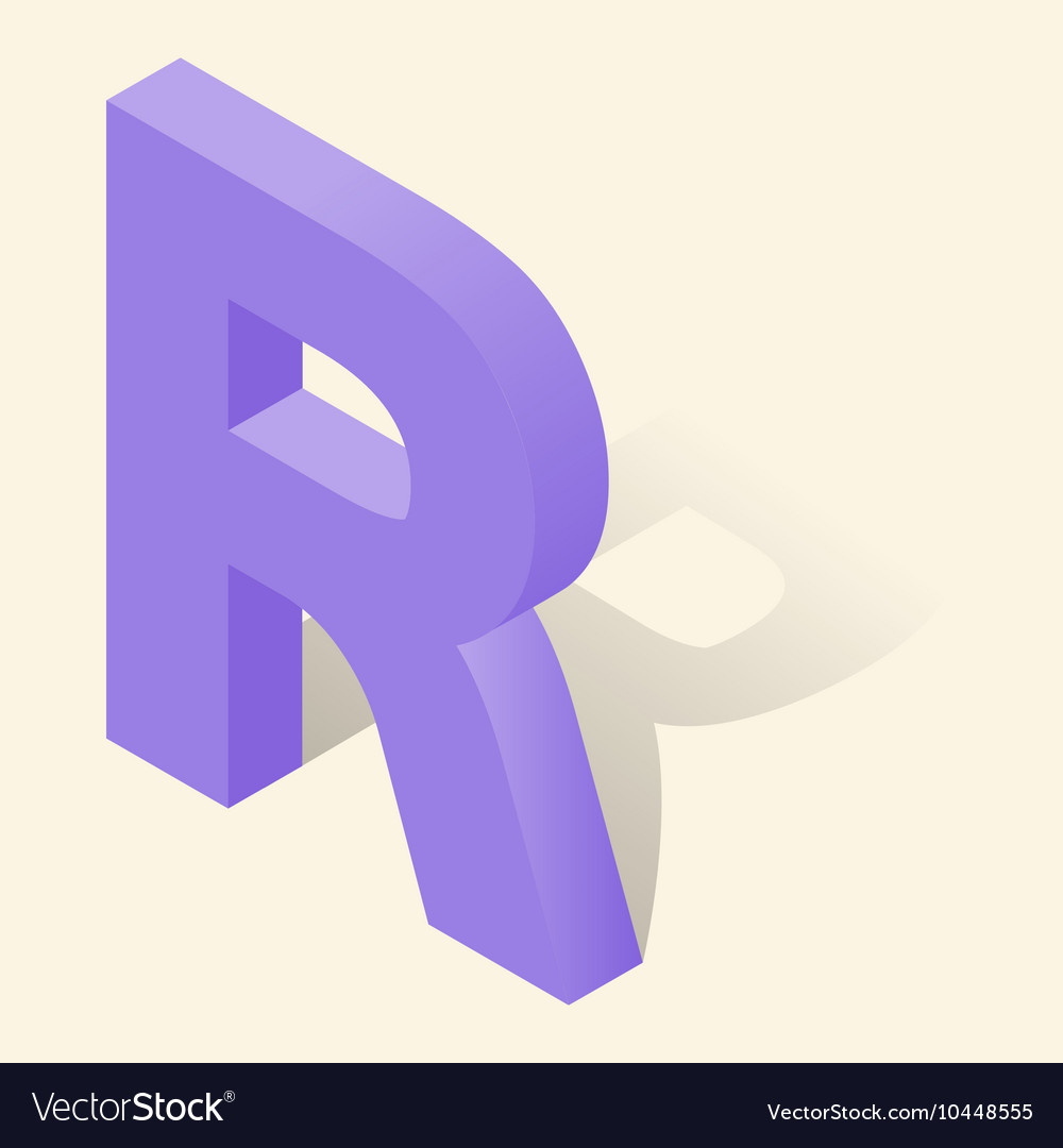 R letter in isometric 3d style with shadow vector image thecheapjerseys Image collections