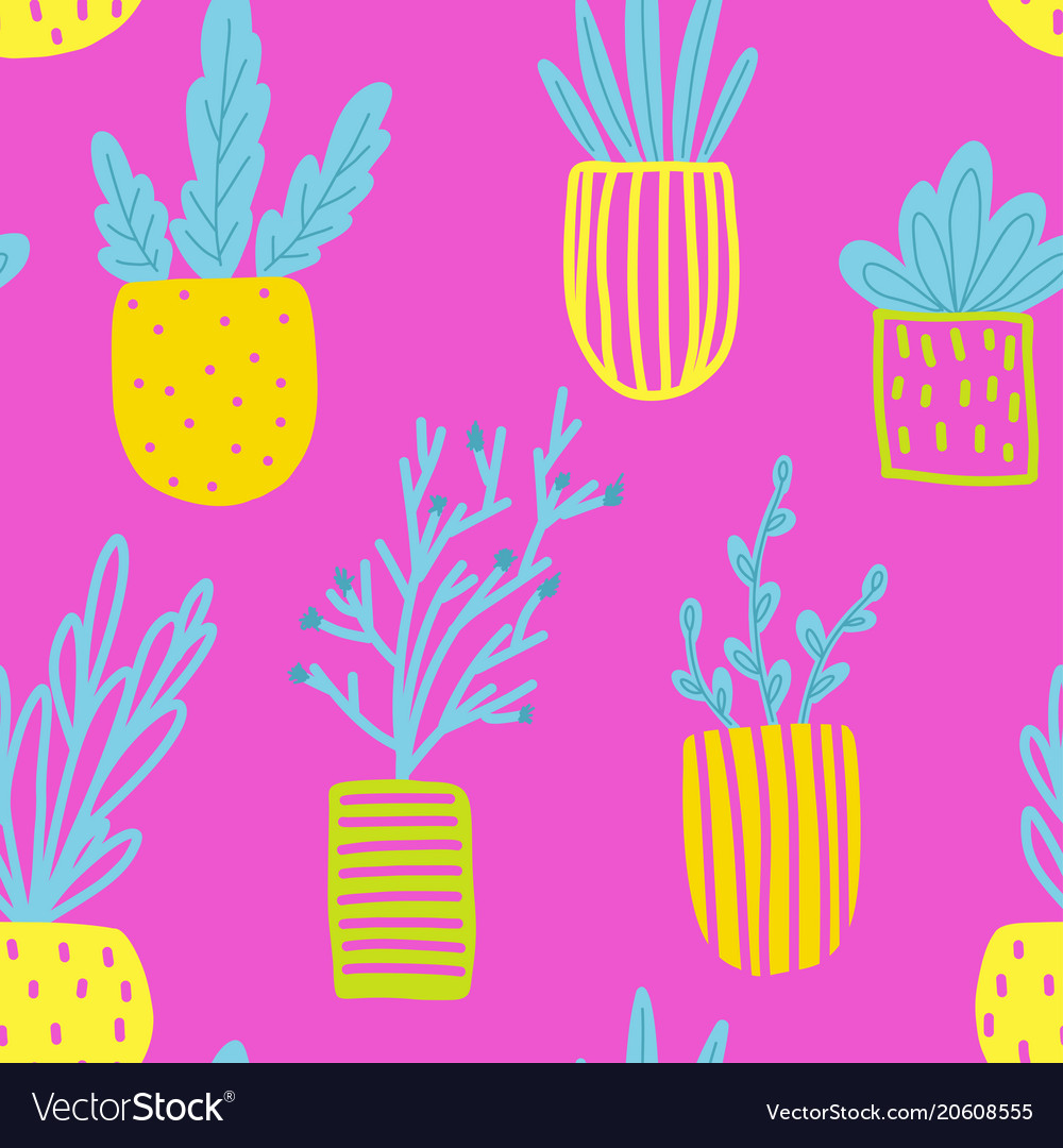 Seamless pattern with flowers in pots
