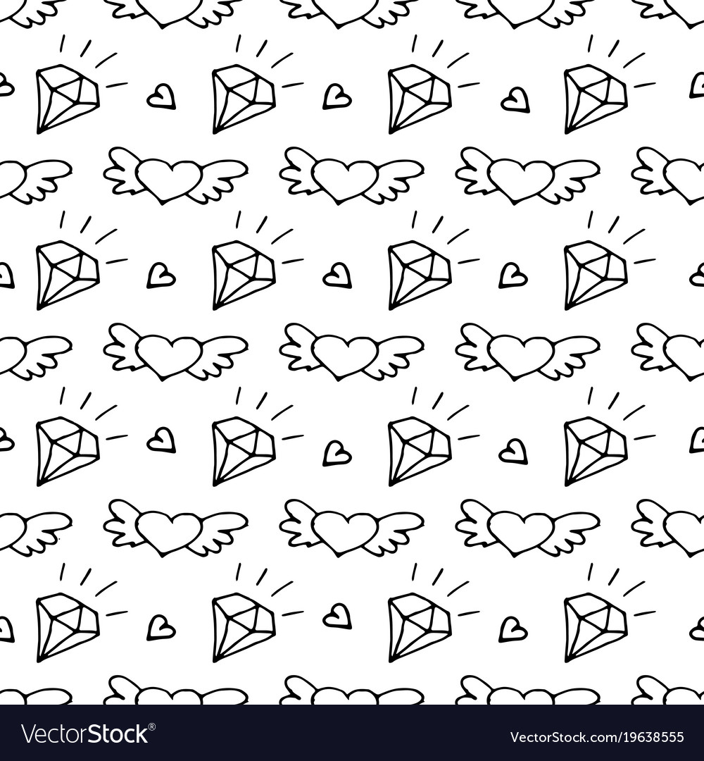 Seamless pattern with valentine hearts and