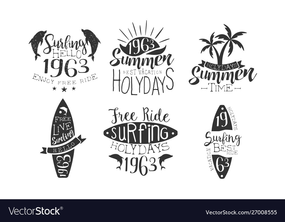 Summer time retro labels set best vacation free