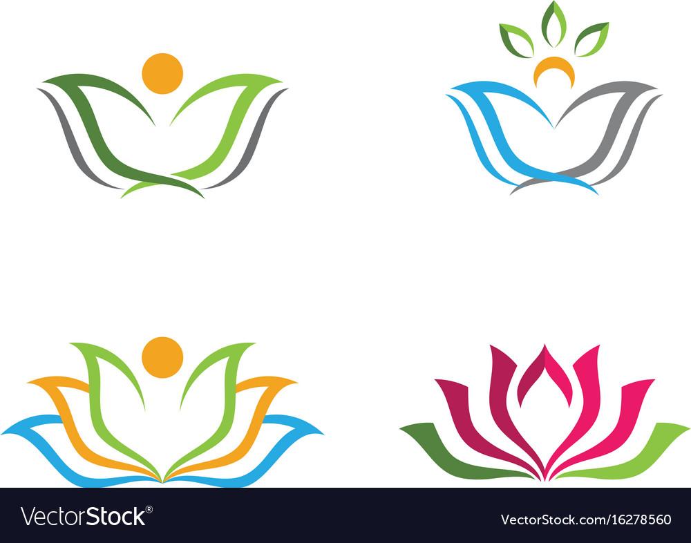 Beauty lotus flowers design logo template icon