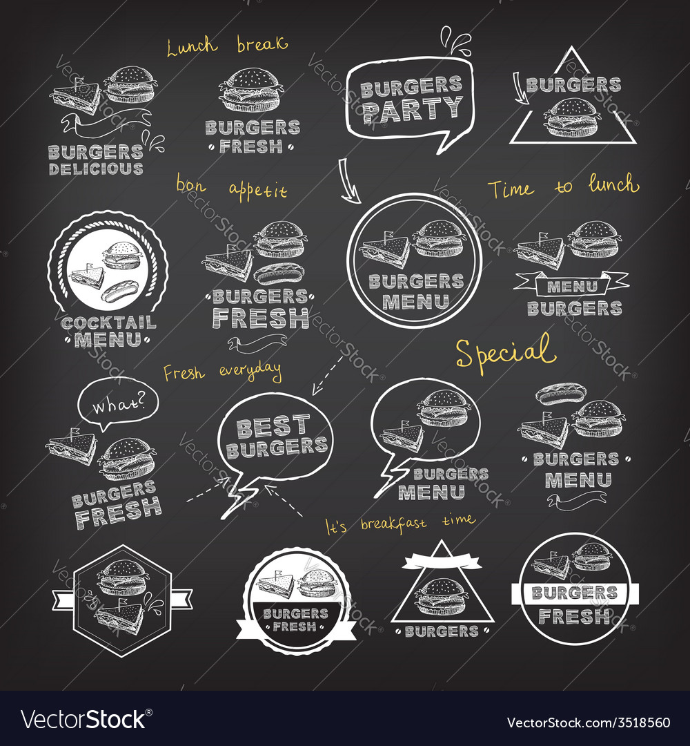 Burgers set of icons menu