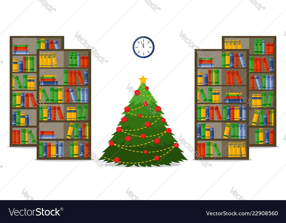 Christmas room interior christmas treein library