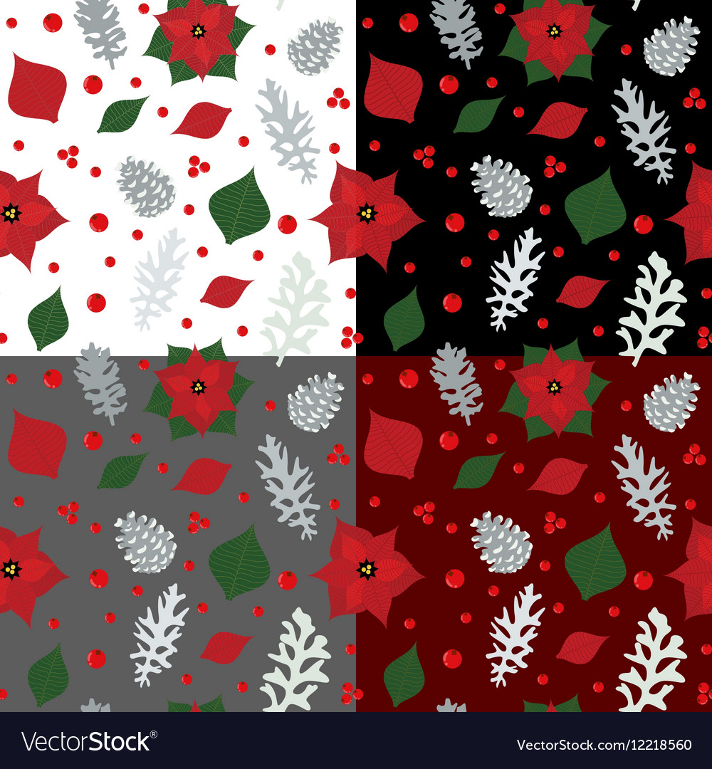 Christmas seamless pattern with holly berry