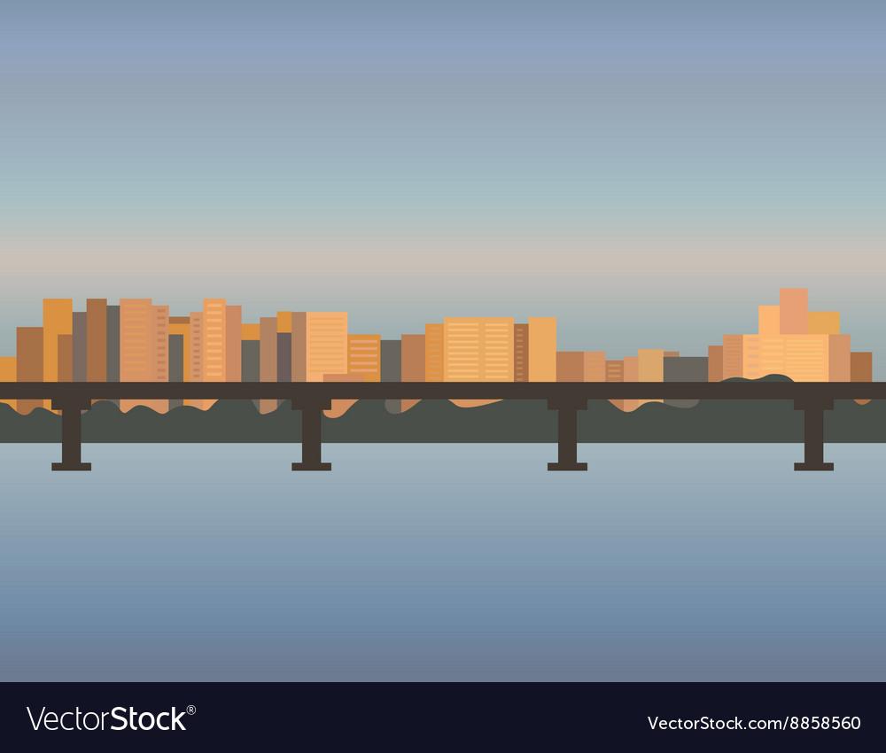 City Skyline cityscape bridge building sunset