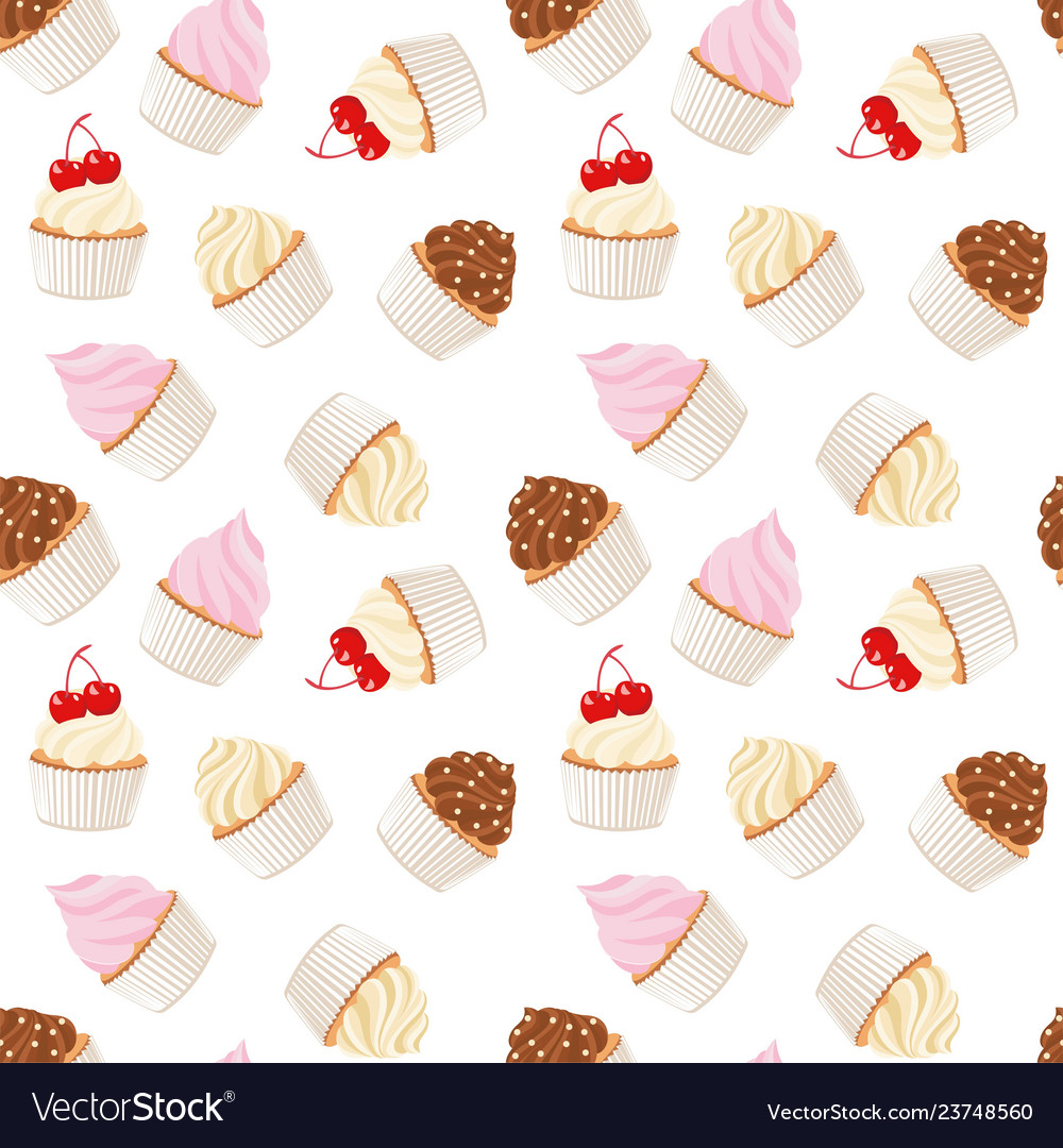 Cupcakes and muffins pastry background seamless