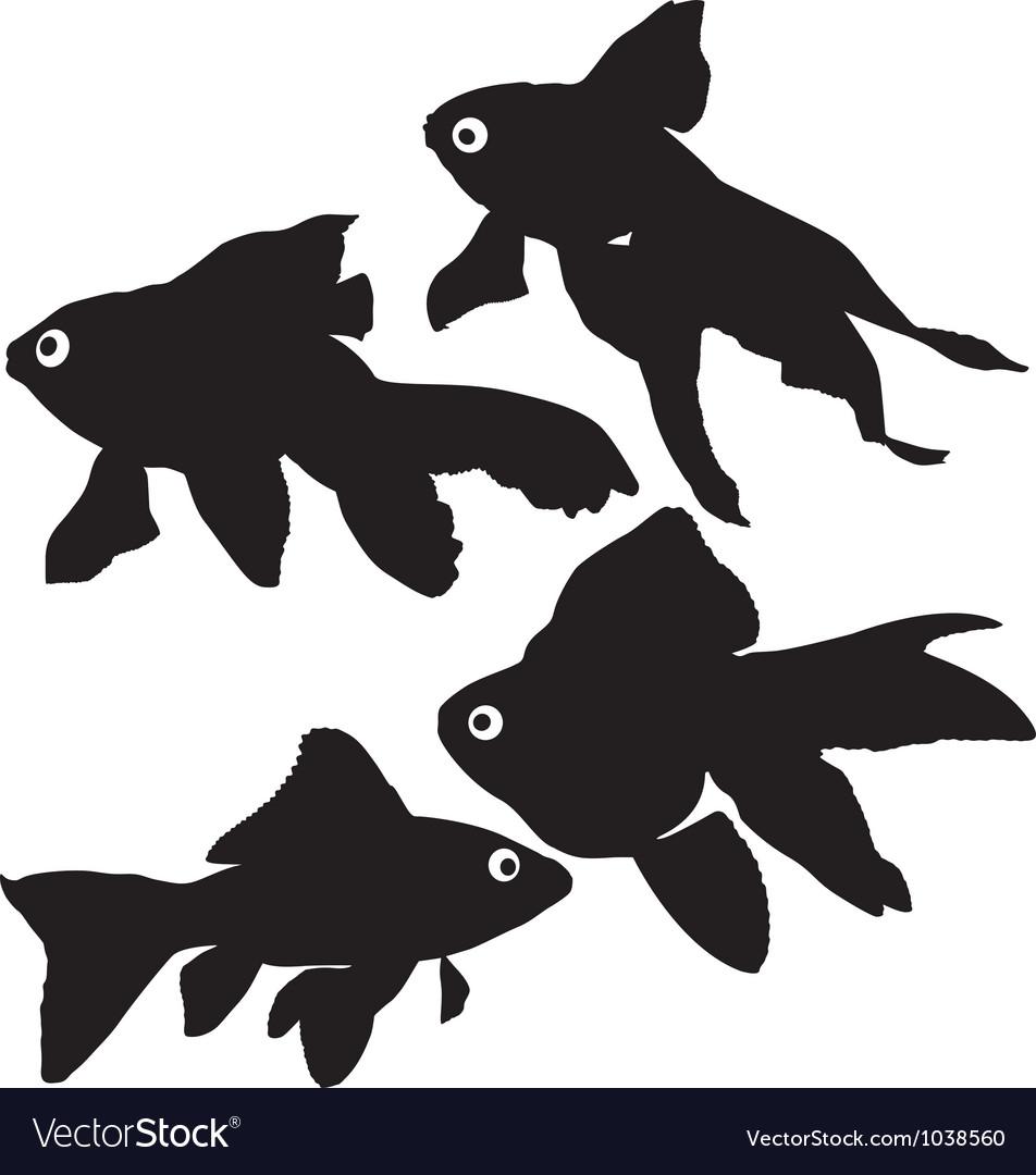 Goldfish or common fish silhouette